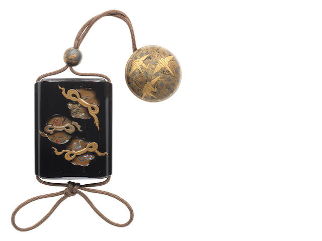 A rare four-case saya inro The inro and manju-netsuke by Shinryusai, 19th century