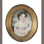 English School, circa 1830 A portrait miniature of a young girl, wearing white dress with pale blue sash ribbon to her waist and matching ribbon bows to her capped sleeves, her dark hair parted and curled in ringlets, gathering flowers in her dress, standing in a landscape