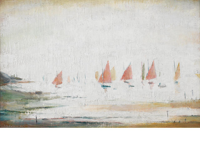 Laurence Stephen Lowry R.A. (British, 1887-1976) Yachts at Lytham St. Anne's 21.5 x 34 cm. (8 1/2 x 13 3/8 in.)