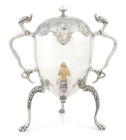 A Scottish George II silver coffee urn, Alexander Johnston, Dundee, 1742