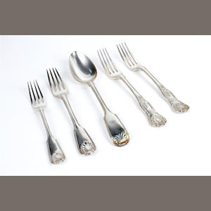 A collection of 19th century fiddle, thread and shell pattern flatware various dates and makers,  (32)