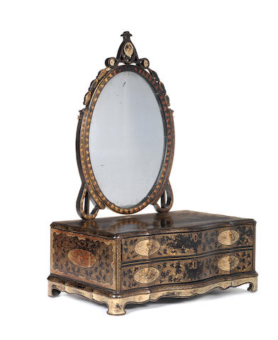 A late 18th/early 19th century Chinese Export black lacquered toilet mirror