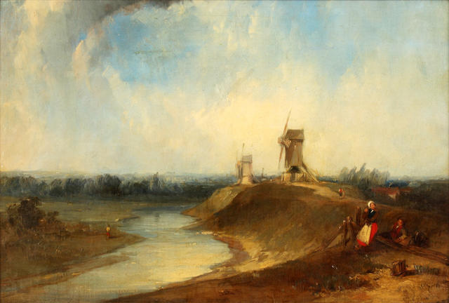 Alfred Gomersal Vickers (British, 1810-1837) On The Dyke, Bruges