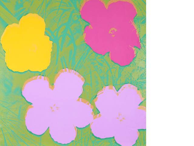 Andy Warhol Flowers, a limited edition screenprint 97/250, 90 x 90cm