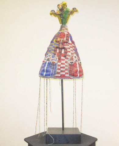 Yoruba beaded crown, Adenla, Nigeria. 41cm high (excluding veil)