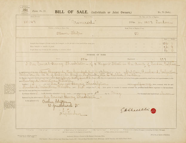 SHACKLETON (ERNEST H.) The Bill of Sale for the Nimrod by Shackleton, 1911