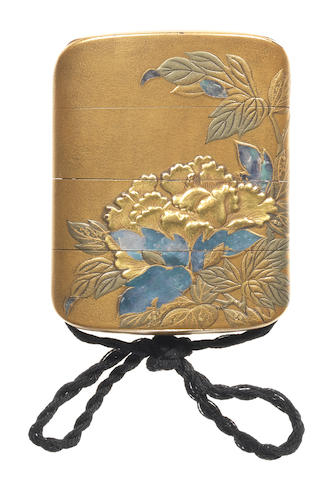 A rare lacquer four-case inro  By Toha, 19th century