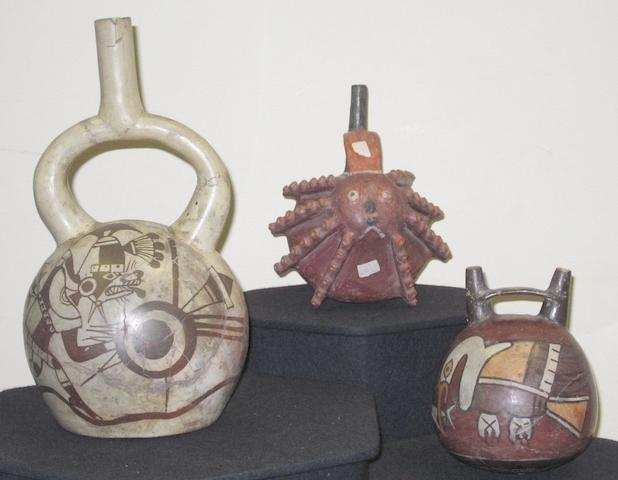 Three Pre-Columbian pottery vessels Peru 3