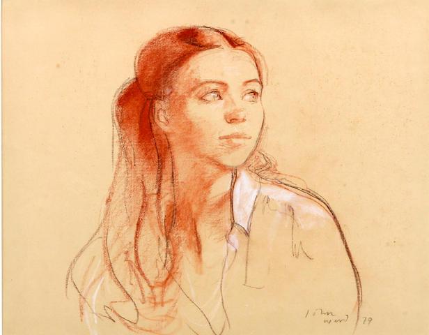 John Ward R.A. (British, born 1917) Portrait study of a young lady