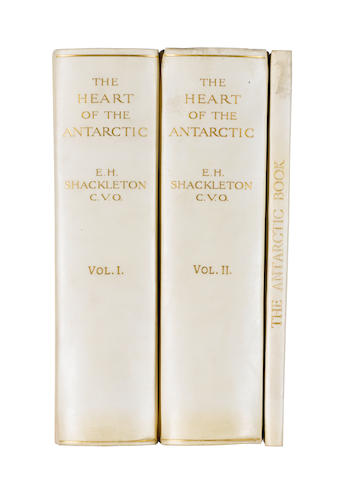 """SHACKLETON (ERNEST HENRY) The Heart of the Antarctic. Being the Story of the British Antarctic Expedition 1907-1909, 3 vol. (including """"The Antarctic Book Winter Quarters 1907-09""""), LIMITED TO 300 COPIES, WITH SIGNATURES OF ALL THE SHORE PARTY, 1909"""