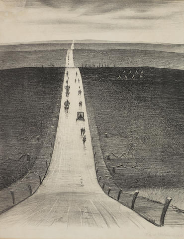 Christopher Richard Wynne Nevinson A.R.A. (British, 1889-1946) The Road from Arras to Bapaume Lithograph, 1918, on Antique de Luxe paper, signed and dated in pencil, with margins, 465 x 385mm (18 1/4 x 14in)(I)