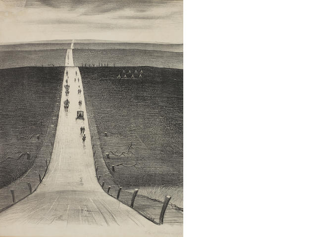 Christopher Richard Wynne Nevinson A.R.A. (British, 1889-1946) The road from Arras to Bapaume Lithograph, 1918, on wove, signed and dated in pencil, 482 x 380mm (19 x 15in)(I)