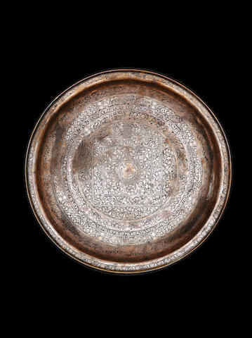 A tinnec copper Safavid dish dated 1141AH owner's name Qwaja Kasi Shah