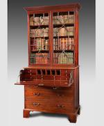 A George III mahogany secretaire bookcase