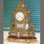French gilt bronze and porcelain mantel clock Henry Marc