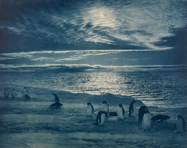 "PONTING (H.G.) ""Midnight Sun in McMurdo Sound"", blue carbon print, [1911]"