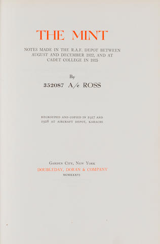 LAWRENCE (T.E.) The Mint, FIRST EDITION, NUMBER 10 OF ONLY 50 COPIES, A.W. LAWRENCE AND EDWARD ELIOT'S COPY, 1936