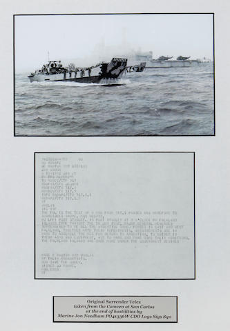 A copy of the original Surrender Telex, Falklands War 1982. 18x13.5ins. (46x34cm)