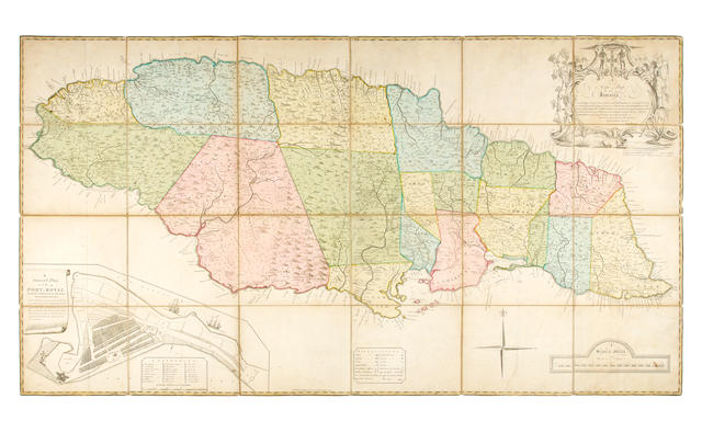 JAMAICA. BROWNE (PATRICK) A New Map of Jamaica... the Greatest Part Drawn or Corrected from Actual Surveys Made by Mr. Sheffield and Others, from the Years 1730 to the Year 1749, 1755