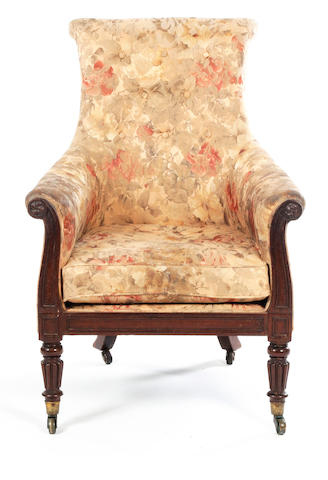 Mahogany upholstered chair, manner Gillow