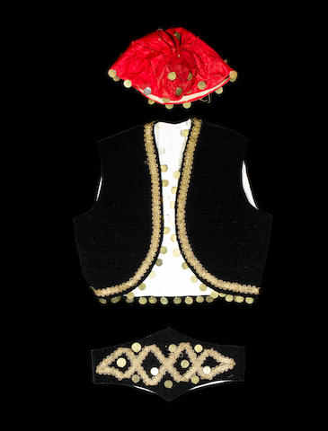 A child's waistcoat, cummerbund and cap, formerly the property of Maharajah Duleep Singh (3)