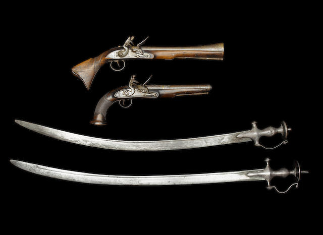 Two plain tulwars; a blunderbuss; a pistol (4)
