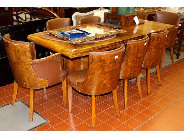 An Art Deco, burr veneered walnut dining room suite,