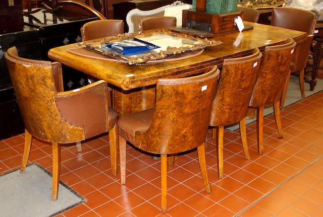 An Art Deco, burr veneered walnut dining room suite,