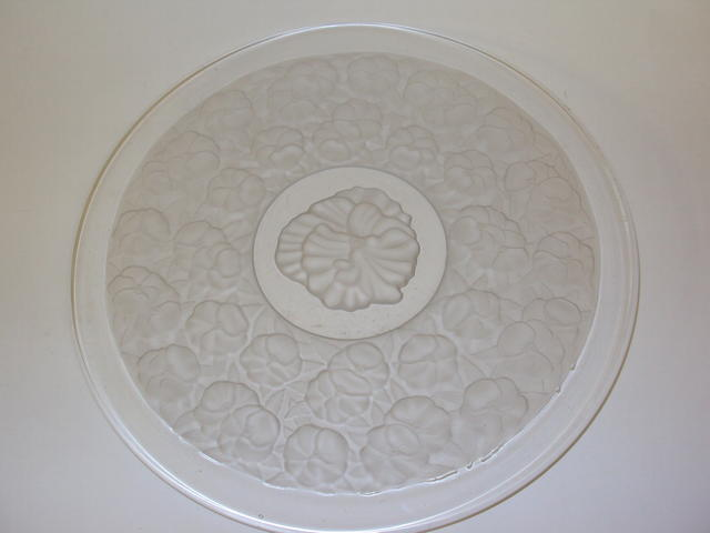 A mid-20th century frosted glass plate