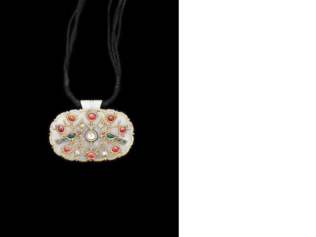 A mughal jade gem-set Pendant