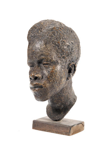 Simon Okeke (Nigerian, 1937-1969) 'Head of a student' 40cm (15 3/4in) high (including base).