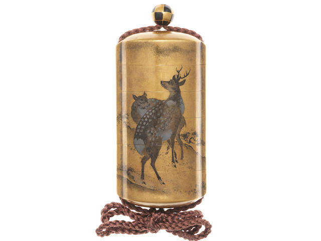 A four-case inro lacquered in togidashi with two deer and pine trees 19th century