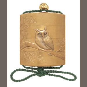 A three-case inro lacquered with an owl on a perch on a pine branch, the moon on the reverse 19th century