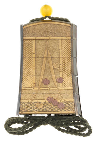 A gold lacquer unusual four-case inro  By Mototada, 19th century
