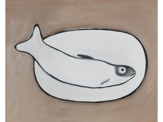 William Scott R.A. (British, 1913-1989) Fish 40.5 x 50.8 cm. (16 x 20 in.)