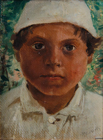 Francesco Paolo Michetti (Italian, 1851-1929) Portrait of a young boy