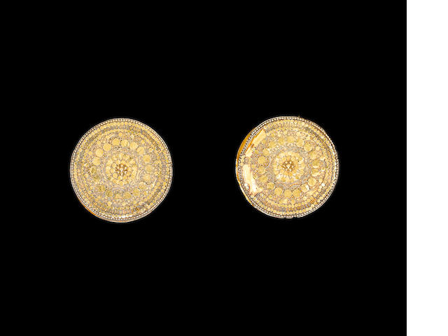A pair of Thai gold disc earrings with applied filigree decoration