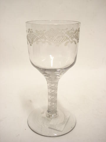An engraved opaque twist goblet 19th century