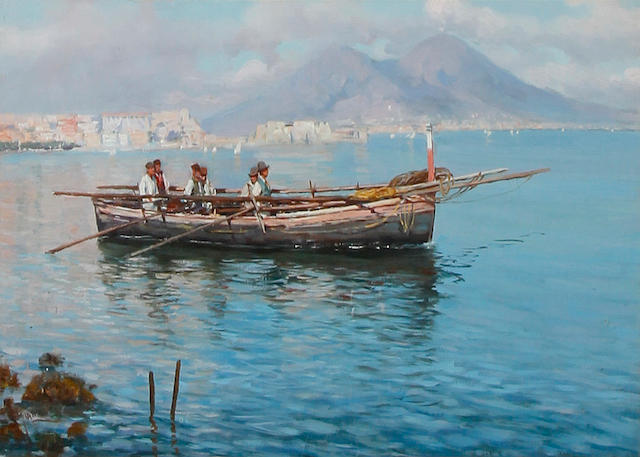 Girolamo Gianni (Italian, 1837-1895) Men in a boat, Bay of Naples