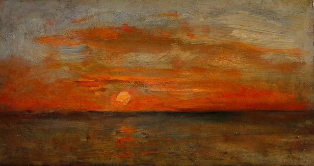 Attributed to Charles-François Daubigny (French, 1817-1878) Study of a sunset