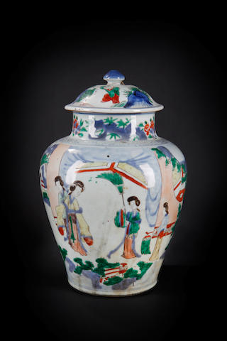 A wucai baluster vase and domed cover Shunzhi