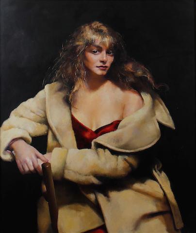 Robert O. Lenkiewicz (British, 1941-2002) Fiorella Sciani in a camel coat