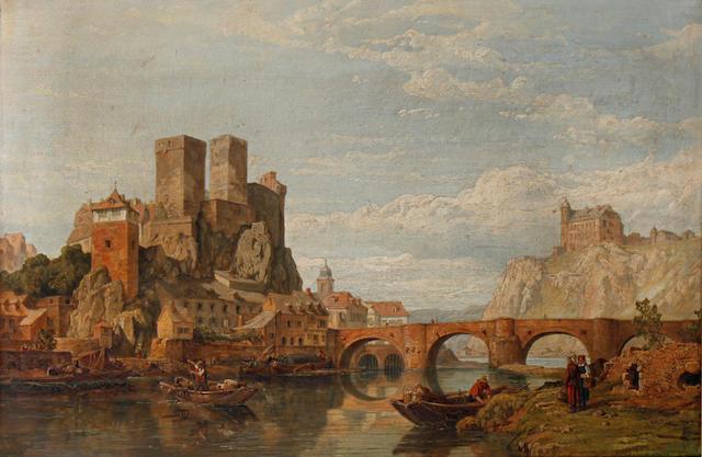 George Clarkson Stanfield (British, 1828-1878) Runkel on the Lahn Nassau