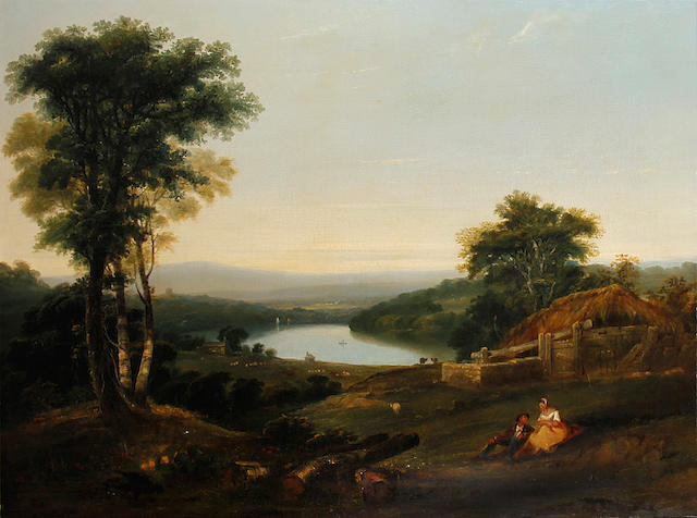 William Williams of Plymouth (1808 -1895) Extensive wooded landscape with cottage beyond