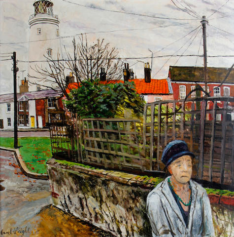 Carel Weight R.A. (British, 1908-1997) Southwold Village and lighthouse