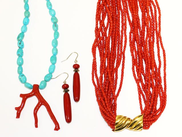 A multi-strand coral bead necklace, (13)