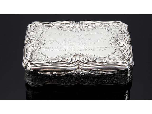 Of Liverpool Interest; A Victorian rectangular table snuff box by Nathaniel Mills, Birmingham 1848