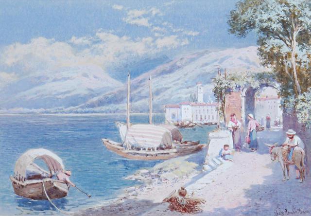 Charles Rowbotham (British, born circa 1856-1921) The Italian lakes, a pair each 12.5 x 18cm (4 15/16 x 7 1/16in). (2).
