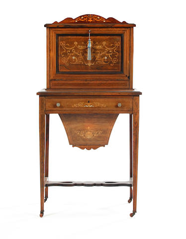 An Edwardian rosewood and inlaid lady's writing and work table
