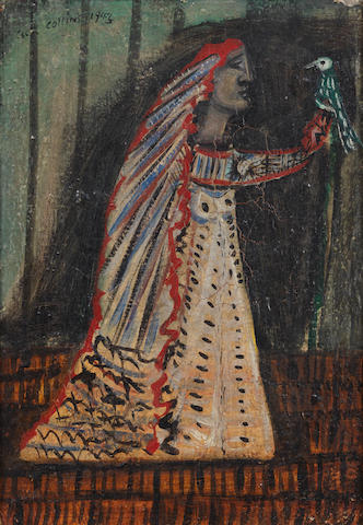Cecil Collins (British, 1908-1989) Woman with a Bird 25.5 x 18 cm. (10 x 7 in.)